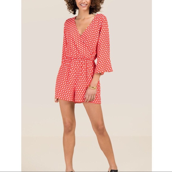 99606b37364 Red and White Polka Dot Romper